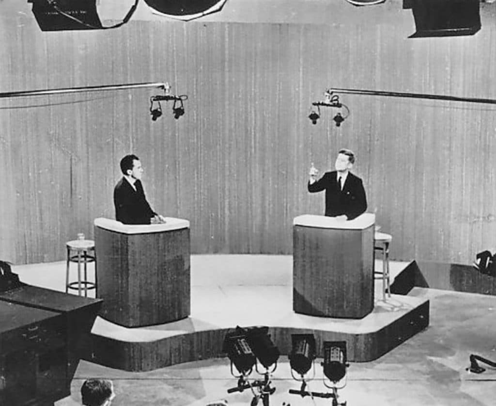 1960 Kennedy-Nixon debate, in television studio.