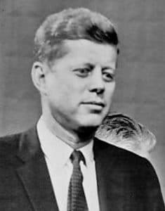 B/W photo of John F Kennedy from 1960 television debate