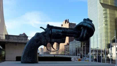 Non-Violence, a sculpture outside the UN building in New York.