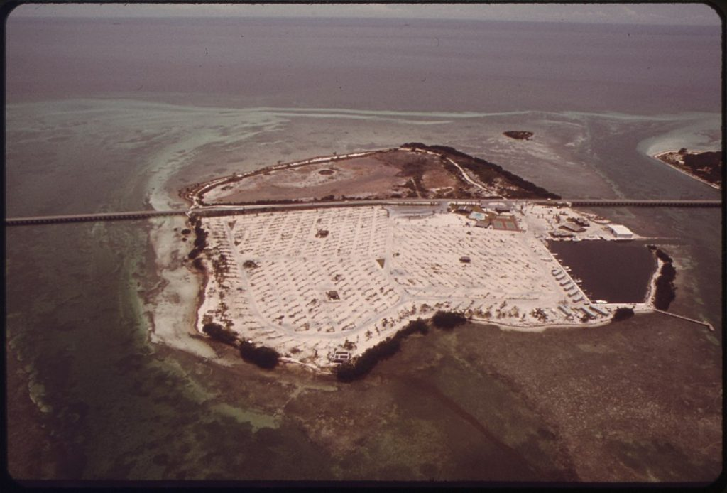 Aerial photo of trailer park in Florida Keys