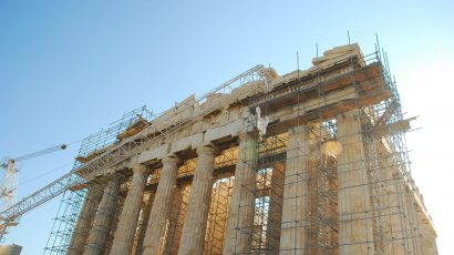 Parthenon in Athens, undergoing partial restoration