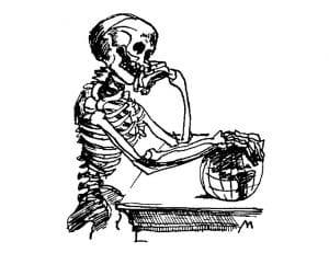 drawing of skeleton contemplating globe