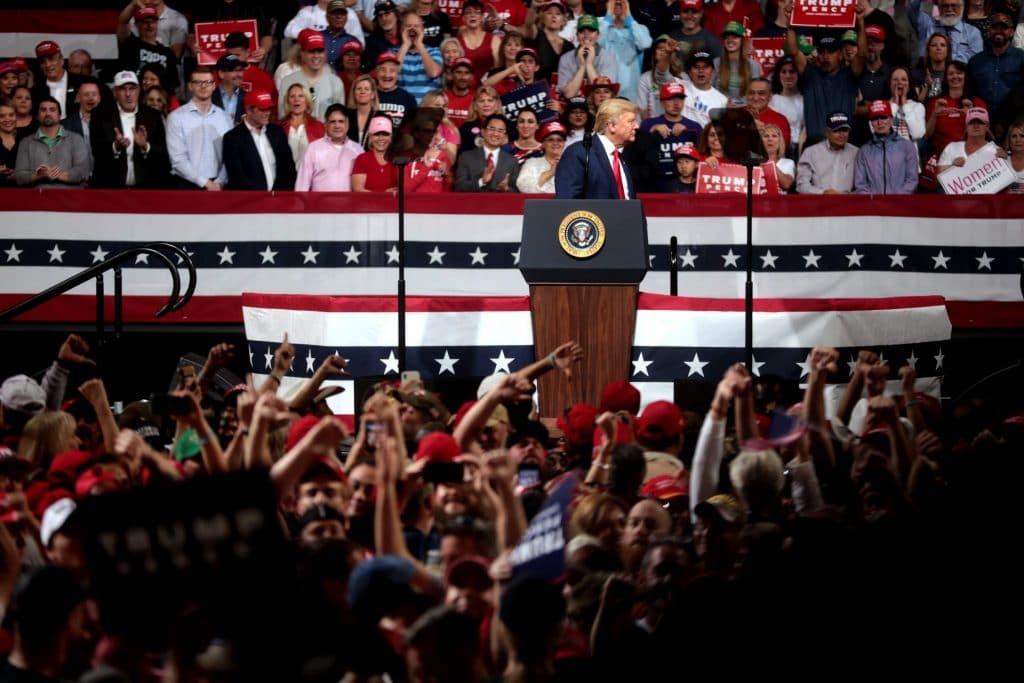 Trump at a rally.