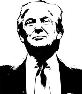 high-contrast BW image of Donald Trump