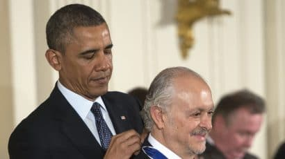 Mario Molina receives the 2013 Presidential Medal of Freedom presented by President Barack Obama in the East Room of the White House. (Photo by Leigh Vogel/WireImage)