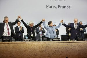 The adoption of the Paris Accord. Photo courtesy of the UN Framework Convention on Climate Change.