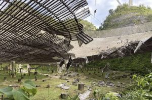 radio telescope damage as seen from the ground