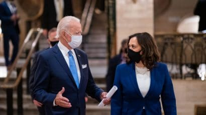 Joe Biden and Kamala Harris at a fundraiser in August 2020.