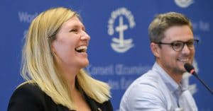 ICAN's Beatrice Fihn (left) and ICAN coordinator Daniel Hogsta at a press conference after the group won the Nobel Peace Prize in October 2017.