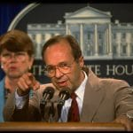 Then-Defense Secretary William Perry (with Attorney General Janet Reno) in the White House press room in 1994. (Photo by Dirck Halstead/The LIFE Images Collection via Getty Images)