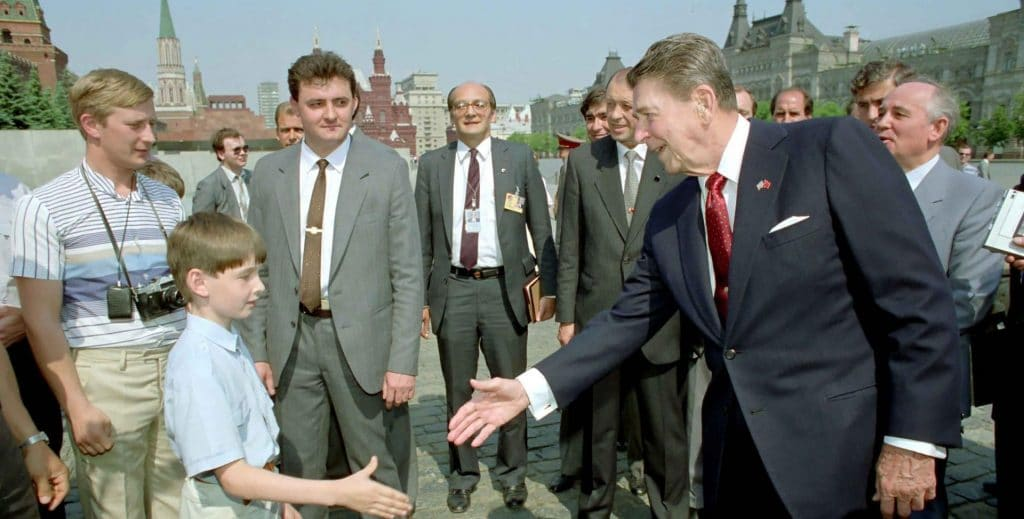 US President Ronald Reagan visits the Soviet Union in the waning days of the Cold War.