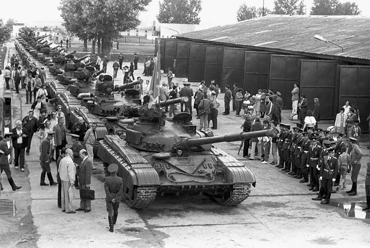 Soviet military equipment is taken out of Hungary.