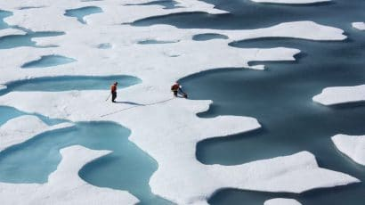 A scientific crew collects airdropped supplies in the arctic. Credit: NASA Goddard Space Flight Center.