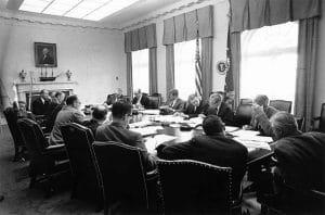 John F. Kennedy and his advisors.
