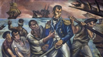 """Detail from """"Cyrus Tiffany in the Battle of Lake Erie, September 13, 1813,"""" mural by Martyl Schweig Langsdorf in the Record of Deeds building, Washington, D.C. Photo courtesy Wikipedia."""