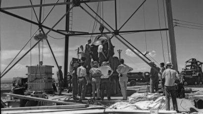 Workers prepare for the Trinity atomic bomb test. Credit: US Department of Energy.