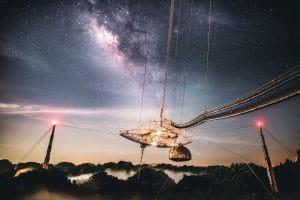 starry sky above Arecibo Observatory, pre-collapse