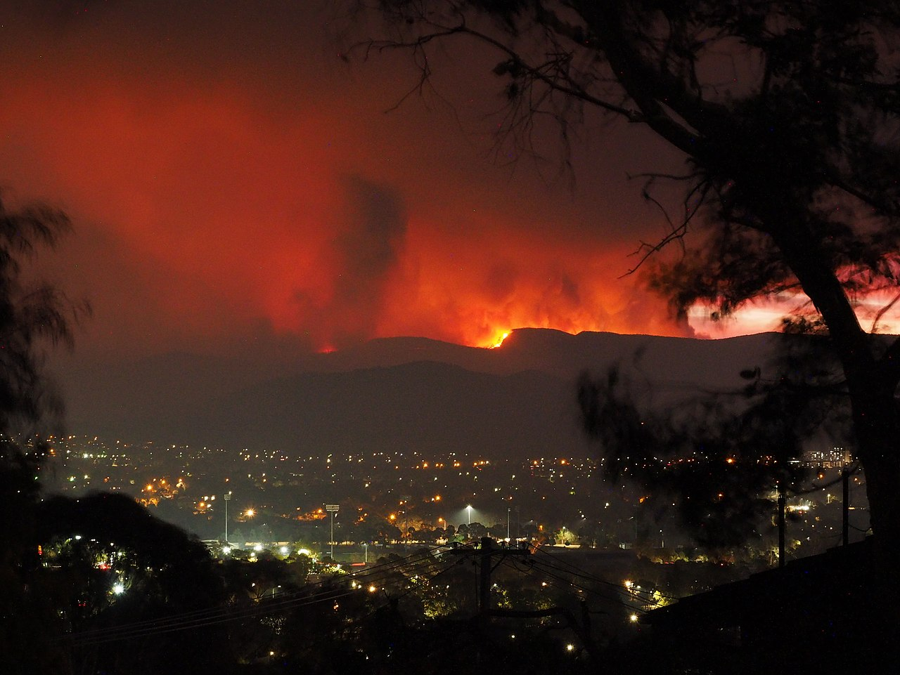 The Orroral Valley Fire viewed from Tuggeranon, a suburb of Canberra, Australia, on the evening of January 28, 2020. (Photo credit: Nick-D / Wikimedia Commons)