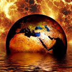 Earth globe water fire