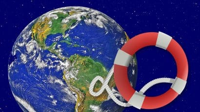 artists rendition of globe and life preserver