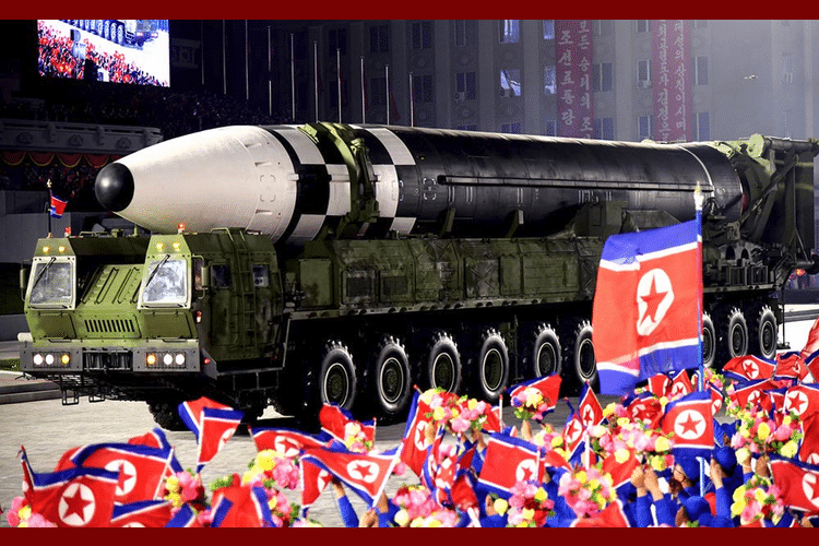 The Hwasong-16 in the parade of the 75th anniversary of the Worker's Party of Korea in October 2020. (Photo credit: Wikimedia Commons)