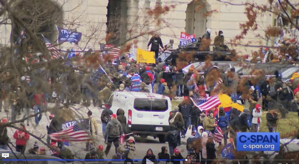 Trump supporters swarm the US Capitol.