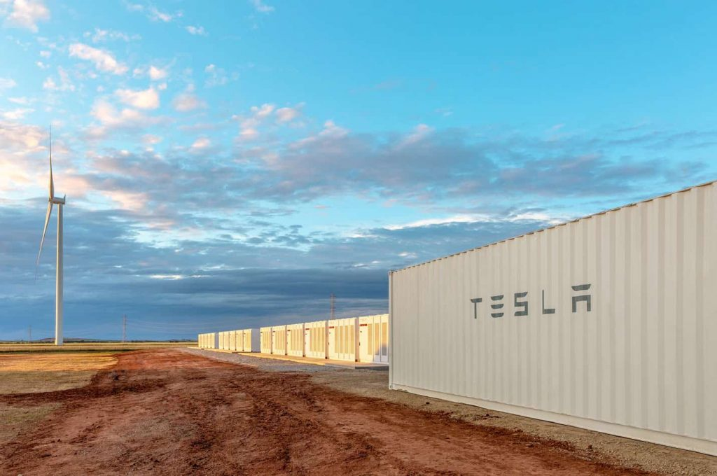 windmill in Australia and battery storage center