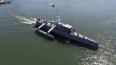 An autonomous ship.