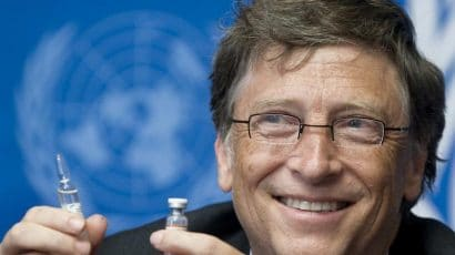 Bill Gates shows a vaccine at UN press conference in 2011
