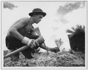 young man planting tree in 1930s