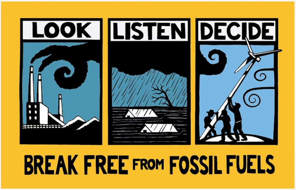 bright protest banner about fossil fuels