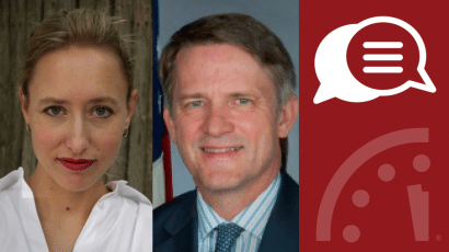 Headshots of Elisabeth Eaves and Thomas Countryman for ICBM GBSD nuclear missile virtual program discussion