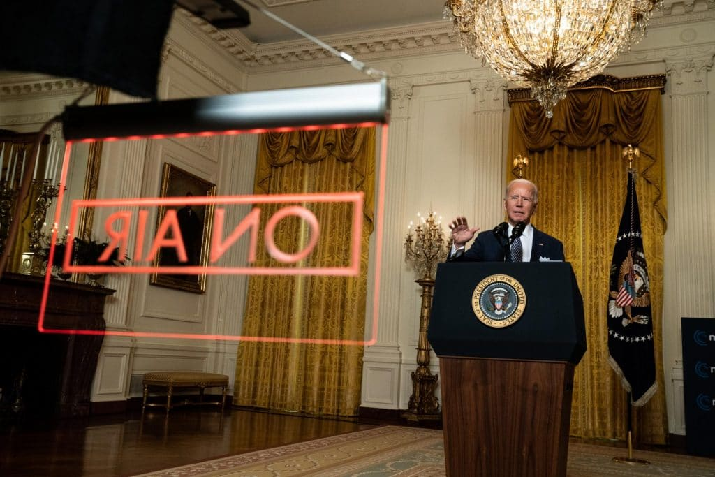 President Biden delivers remarks to the virtual Munich Security Conference. Photo by Anna Moneymaker-Pool/Getty Images