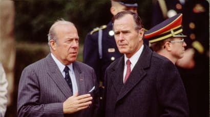 WASHINGTON, DC -- UNDATED: Secretary of State George P. Shultz (L) and Vice President George H.W. Bush at an event in Washington, DC, circa 1983. (Photo by David Hume Kennerly/Getty Images)