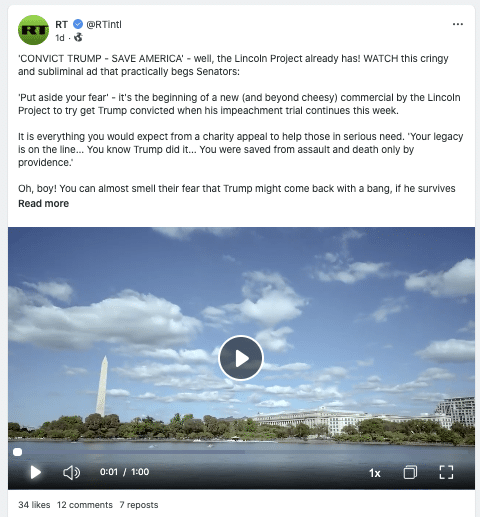 A Gab post by RT.