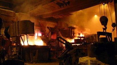 steel mill furnaces at work