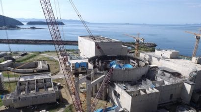 Aerial view of Angra 3 nuclear reactor construction site in 2017
