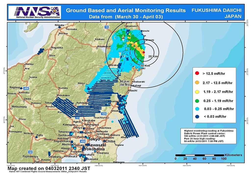 Combined results of 211 flight hours of aerial monitoring operations and ground measurements in the Fukushima area made by the US Energy Department, US Defense Department, and Japanese monitoring teams from March 30, 2011 to April 3, 2011. Source: National Nuclear Security Administration (NNSA)/ US Energy Department