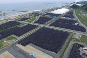 Aerial view bags of radioactive soil Fukushima