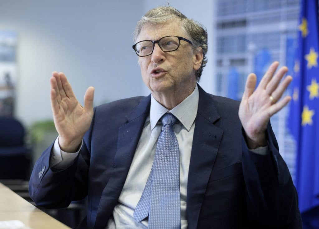 Bill Gates in October 2018, at the EU Commission headquarters in Brussels, Belgium to promote health and clean-energy Initiatives. Photo by Thierry Monasse/Getty Images