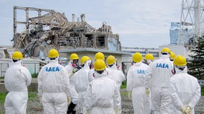 Experts from the International Atomic Energy Agency inspect the No. 3 reactor at the Fukushima Daiichi nuclear power plant in Fukushima Prefecture on May 27, 2011. (Photo by Kyodo News Stills via Getty Images)