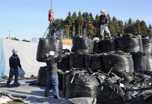 Ground view bags radioactive soil Fukushima