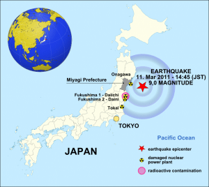 Map of Japan showing the March 11, 2011 earthquake. Credit: W. Rebel via Wikimedia Commons. CC BY-SA 3.0.