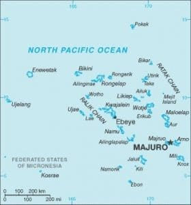 Map of the Marshall Islands. Credit: CIA World Factbook public domain image accessed via Wikimedia Commons.