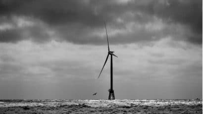 offshore windmill at Block Island, RI, in BW
