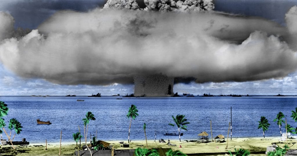 A nuclear weapon test by the US military at Bikini Atoll in 1946. Credit: US Defense Department image via Wikimedia Commons, licensed with PD-USGov-Military.