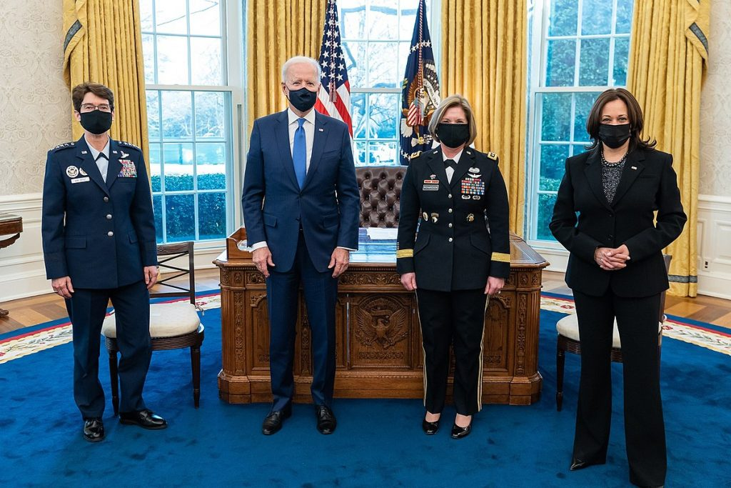 President Biden and Vice President Harris with US Armed Forces generals. Credit: The White House via Wikimedia Commons. Public domain.