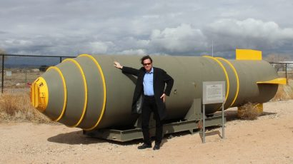 Alex Wellerstein leans against an Mk-17 hydrogen bomb casing at the National Museum of Nuclear Science and History in Albuquerque, New Mexico. Permission: Alex Wellerstein.