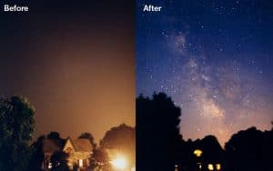 night sky before and after light pollution