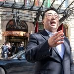 The ambassador of the Permanent Mission of the People's Republic of China to the United Nations, Wang Qun, speaks to journalists in front of the Grand Hotel after the closed-door nuclear talks with Iran in Vienna, where diplomats of the EU, China, Russia and Iran held their talks. The United States participates in discussions in Vienna to try to save the international agreement on Iranian nuclear power. However, they don't meet at the same table as Tehran and it is the Europeans who serve as intermediaries between the two parties. (Photo by JOE KLAMAR/AFP via Getty Images)